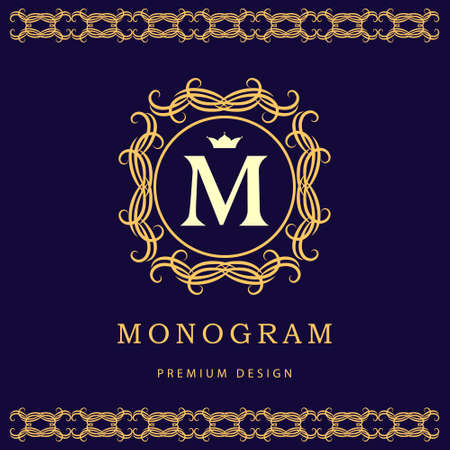 m hotel: Vector illustration of Monogram design elements graceful template. Elegant line art design. Letter M. Business sign identity for Restaurant Royalty Boutique Cafe Hotel Heraldic Jewelry Fashion Wine.