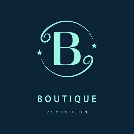 Vector illustration of Monogram design elements graceful template. Elegant line art design. Letter B. Business sign identity for Restaurant Royalty Boutique Cafe Hotel Heraldic Jewelry Fashion Wine. Çizim