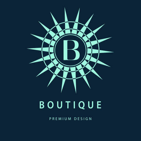 b: Vector illustration of Monogram design elements graceful template. Elegant line art design. Letter B. Business sign identity for Restaurant Royalty Boutique Cafe Hotel Heraldic Jewelry Fashion Wine. Illustration
