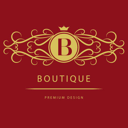 B: Vector illustration of Monogram design elements graceful template. Calligraphic elegant line art  design. Letter B. Business sign for Royalty Boutique Cafe Hotel Heraldic Jewelry Wine.