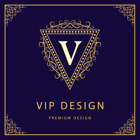 letter art: Vector illustration of Monogram design elements graceful template. Calligraphic elegant line art  design. Letter V. Business sign for Royalty Boutique Cafe Hotel Heraldic Jewelry Wine.