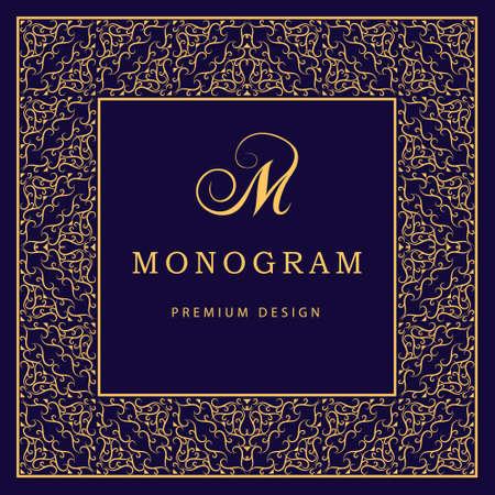 Vector illustratie van het Monogram ontwerpelementen sierlijke sjabloon. Kalligrafische elegante lijn art design. Letter M. Abstracte decoratieve achtergrond met vintage modern patroon voor etiketten covers.