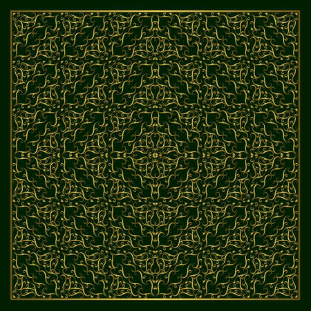 braiding: Vector illustration of Monogram design elements graceful template. Calligraphic elegant line art logo design. Abstract decorative green background with vintage modern pattern. Grid gold braiding.
