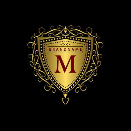 Vector illustratie van Monogram design elementen sierlijke sjabloon. Kalligrafische elegante lijn art design. Gouden brief M. bedrijf teken voor Royalty Boutique Hotel Cafe heraldische Jewelry Wine. Stock Illustratie