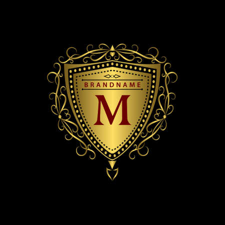 Vector illustration of Monogram design elements graceful template. Calligraphic elegant line art  design. Gold letter M. Business sign for Royalty Boutique Cafe Hotel Heraldic Jewelry Wine. Ilustrace