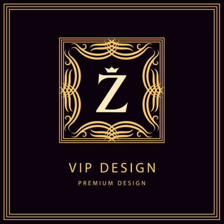 royal background: Vector illustration of Monogram design elements graceful template. Calligraphic elegant line art  design. Emblem Letter Z. Business sign for Royalty Boutique Cafe Hotel Heraldic Jewelry Wine.