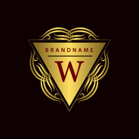 w: Vector illustration of Monogram design elements graceful template. Calligraphic elegant line art  design. Gold emblem W. Business sign for Royalty Boutique Cafe Hotel Heraldic Jewelry Wine.