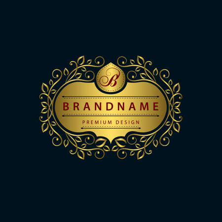 B: Vector illustration of Monogram design elements graceful template. Calligraphic elegant line art design. Gold emblem B. Business sign for Royalty Boutique Cafe Hotel Heraldic Jewelry Wine.