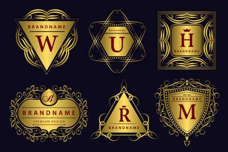 Vector illustration of Monogram design elements graceful template. Calligraphic elegant line art design. Gold emblem. Business sign for Royalty Boutique Cafe Hotel Heraldic Jewelry Wine. Stock Illustratie