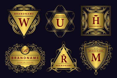 Vector illustration of Monogram design elements graceful template. Calligraphic elegant line art design. Gold emblem. Business sign for Royalty Boutique Cafe Hotel Heraldic Jewelry Wine. Çizim