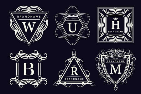 Vector illustration of Monogram design elements graceful template. Calligraphic elegant line art design. Emblem Letters. Business sign for Royalty Boutique Cafe Hotel Heraldic Jewelry Wine.