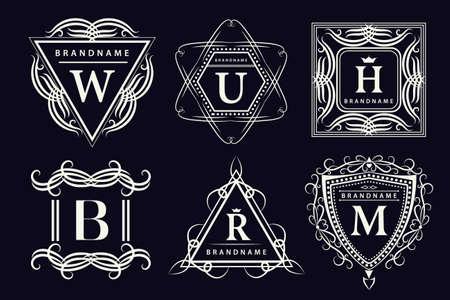 crest: Vector illustration of Monogram design elements graceful template. Calligraphic elegant line art design. Emblem Letters. Business sign for Royalty Boutique Cafe Hotel Heraldic Jewelry Wine.