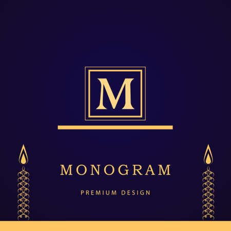 m hotel: Vector illustration of Monogram design elements graceful template. Calligraphic elegant line art design. Letter M. Business sign for Royalty Boutique Cafe Hotel Heraldic Jewelry Wine.