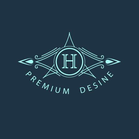 Vector illustratie van het Monogram ontwerpelementen sierlijke sjabloon. Kalligrafische elegante lijn art design. Letter H. Zakelijke teken voor Royalty Boutique Cafe Hotel heraldische sieraden Wijn.