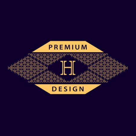 business sign: Vector illustration of Monogram design elements graceful template. Calligraphic elegant line art design. Letter emblem H. Business sign for Royalty Boutique Cafe Hotel Heraldic Jewelry Wine. Illustration