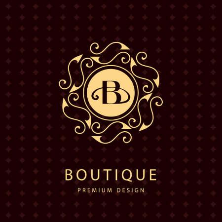 Vector illustration of Monogram design elements graceful template. Calligraphic elegant line art design. Letter emblem B. Business sign for Royalty Boutique Cafe Hotel Heraldic Jewelry Wine.