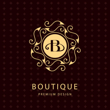 b: Vector illustration of Monogram design elements graceful template. Calligraphic elegant line art design. Letter emblem B. Business sign for Royalty Boutique Cafe Hotel Heraldic Jewelry Wine.