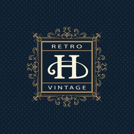 h: Vector illustration of Monogram design elements graceful template. Calligraphic elegant line art design. Letter emblem H. Business sign for Royalty Boutique Cafe Hotel Heraldic Jewelry Wine. Illustration