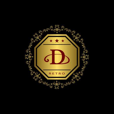 d: Vector illustration of Monogram design elements, graceful template. Calligraphic elegant line art design. Gold emblem D. Business sign for Royalty, Boutique, Cafe, Hotel, Heraldic, Jewelry, Wine.