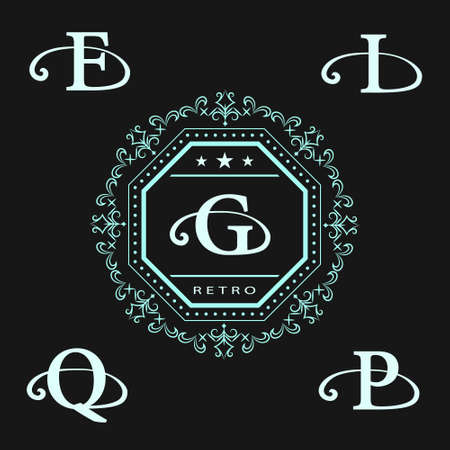 g p: Vector illustration of Monogram design elements, graceful template. Calligraphic elegant line art design. Letter emblem G, Q, P, F, I . Business sign for Royalty, Boutique, Cafe, Hotel, Heraldic.