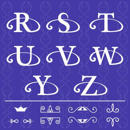 Vector illustratie van Monogram design elementen, sierlijke sjabloon. Kalligrafische elegante lijn art design. Letter embleem R, S, T, U, V, W, Y, Z op een blauwe achtergrond. Stockfoto - 42592120