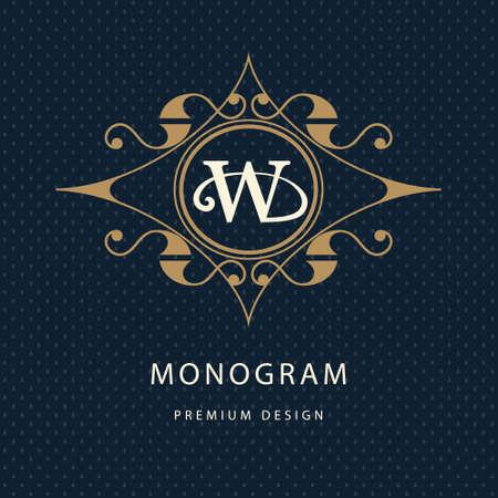 モノグラム デザイン要素、優雅なテンプレートのベクター イラストです。書道の優雅なライン アート デザイン。文字エンブレム ロイヤリティ、ブ  イラスト・ベクター素材