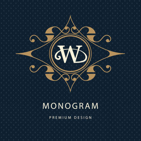 Vector illustration of Monogram design elements, graceful template. Calligraphic elegant line art design. Letter emblem W. Business sign for Royalty, Boutique, Cafe, Hotel, Heraldic, Jewelry, Wine. Çizim
