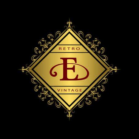 e business: Vector illustration of Monogram design elements, graceful template. Calligraphic elegant line art design. Gold emblem E. Business sign for Royalty, Boutique, Cafe, Hotel, Heraldic, Jewelry, Wine. Illustration