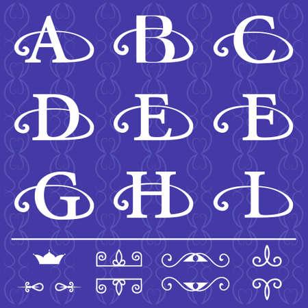 Vector illustratie van het Monogram design elementen, sierlijke sjabloon. Kalligrafische elegante lijn art design. Brief embleem A, B, C, D, E, F, G, H, I op een blauwe achtergrond. Stockfoto - 42592228