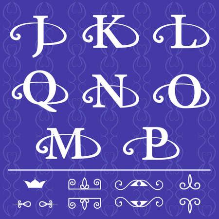 モノグラム デザイン要素、優雅なテンプレートのベクター イラストです。書道の優雅なライン アート デザイン。文字エンブレム J、K、L、Q、N、O、