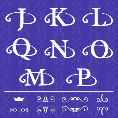 Vector illustration of Monogram design elements, graceful template. Calligraphic elegant line art design. Letter emblem J, K, L, Q, N, O, M, P on a blue background .