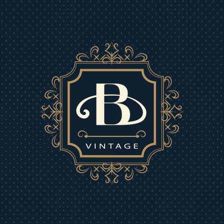 Vector illustration of Monogram design elements, graceful template. Calligraphic elegant line art design. Letter emblem B. Business sign for Royalty, Boutique, Cafe, Hotel, Heraldic, Jewelry, Wine.