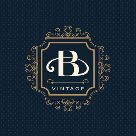 wine label: Vector illustration of Monogram design elements, graceful template. Calligraphic elegant line art design. Letter emblem B. Business sign for Royalty, Boutique, Cafe, Hotel, Heraldic, Jewelry, Wine.