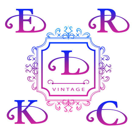 Vector illustration of Monogram design elements, graceful template. Calligraphic elegant line art design. Letter emblem E, R, K, C, L. Business sign for Royalty, Boutique, Cafe, Hotel, Heraldic.
