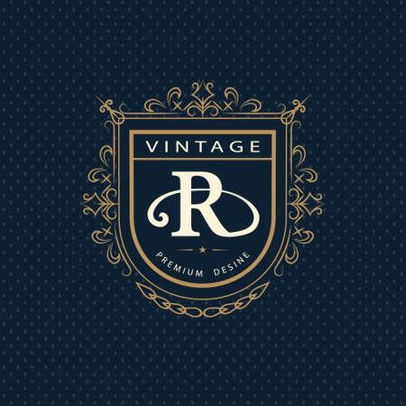insignias: Ilustración vectorial de elementos de diseño del monograma, plantilla elegante. Logo elegante diseño caligráfico línea de arte. Emblema de la letra R. negocios signo para Realeza, Boutique, Café, Hotel, heráldico, joyería, vino.