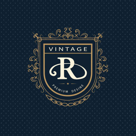 calligraphic design: Vector illustration of Monogram design elements, graceful template. Calligraphic elegant line art logo design. Letter emblem R. Business sign for Royalty, Boutique, Cafe, Hotel, Heraldic, Jewelry, Wine.