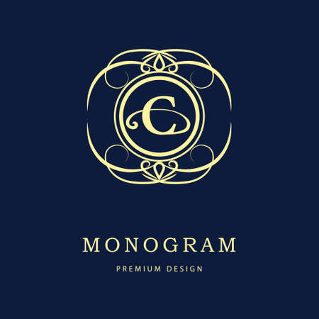 calligraphic: Vector illustration of Monogram design elements, graceful template. Calligraphic elegant line art   design. Letter emblem C. Business sign for Royalty, Boutique, Cafe, Hotel, Heraldic, Jewelry, Wine.