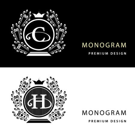h: Vector illustration of Monogram design elements, graceful template. Letter emblem C, H. Calligraphic elegant line art   design for business cards, Royalty, Boutique, Cafe, Hotel, Heraldic, Jewelry.