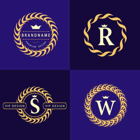 モノグラム デザイン要素、優雅なテンプレートです。書道の優雅なライン アートのロゴデザイン。文字エンブレム S、R、W ロイヤリティ、名刺、ブ  イラスト・ベクター素材