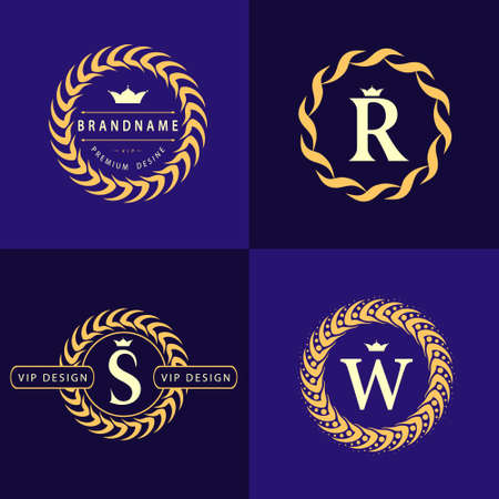 Monogram design elements, graceful template. Calligraphic elegant line art logo design. Letter emblem S, R, W for Royalty, business card, Boutique, Cafe, Hotel, Heraldic, Jewelry. Vector illustration Çizim
