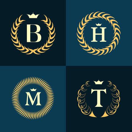 h: Monogram design elements, graceful template. Calligraphic elegant line art logo design. Letter emblem B, H, M, T for Royalty, business card, Boutique, Hotel, Heraldic, Jewelry. Vector illustration