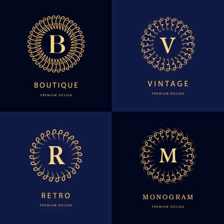 decorative letter: Monogram design elements, graceful template. Calligraphic elegant line art logo design. Letter emblem B, R, M, V for Royalty, business card, Boutique, Hotel, Heraldic, Jewelry. Vector illustration Illustration