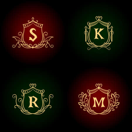 jewelry vector: Monogram design elements, graceful template. Calligraphic elegant line art logo design. Letter emblem S, R, M, K for Royalty, business card, Boutique, Hotel, Heraldic, Jewelry. Vector illustration