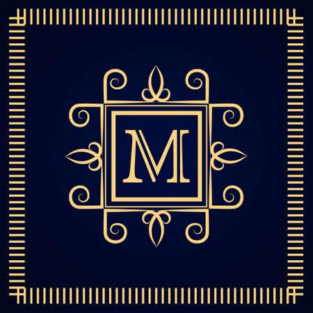 モノグラム デザイン要素、優雅なテンプレートです。書道の優雅なライン アートのロゴデザイン。文字エンブレム M. ロイヤリティ、ブティック、  イラスト・ベクター素材