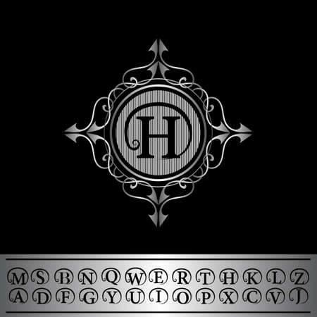 Vector illustration of Monogram design elements, English letters. Calligraphic elegant line art  design. Business sign, identity for Restaurant, Royalty, Boutique, Hotel, Heraldic, Jewelry, Fashion. Illustration