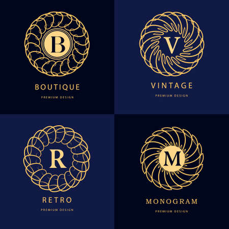 boutique hotel: Ilustración vectorial de elementos de diseño del monograma, plantilla elegante. El diseño del arte elegante línea caligráfica. Carta emblema B, R, M, V para la Realeza, tarjeta de visita, Boutique Hotel