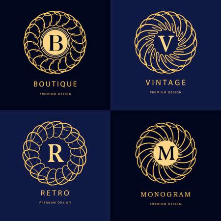 m: Vector illustration of Monogram design elements, graceful template. Calligraphic elegant line art  design. Letter emblem B, R, M, V for Royalty, business card, Boutique, Hotel