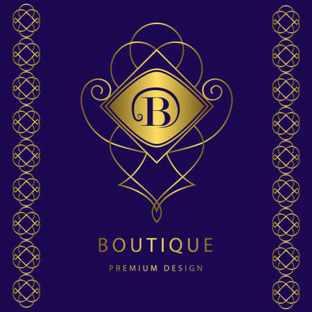 Vector illustration of Monogram design elements, graceful template. Calligraphic elegant line art logo design. Letter emblem B. Business sign for Royalty, Boutique, Cafe, Hotel, Heraldic, Jewelry, Wine.
