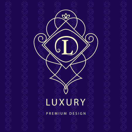 Vector illustration of Monogram design elements, graceful template. Calligraphic elegant line art logo design. Letter emblem L. Business sign for Royalty, Boutique, Cafe, Hotel, Heraldic, Jewelry, Wine Çizim