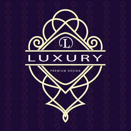 Vector illustration of Monogram design elements, graceful template. Calligraphic elegant line art  design. Letter emblem L. Business sign for Royalty, Boutique, Cafe, Hotel, Heraldic, Jewelry, Wine Illustration